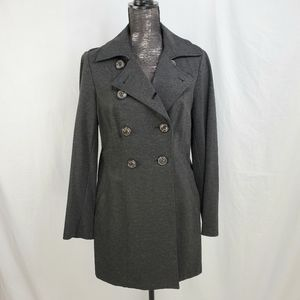 CAbi Gray Ponte Knit Double Breasted Trench Coat
